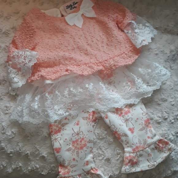 Bellbottom pants with matching lace top
